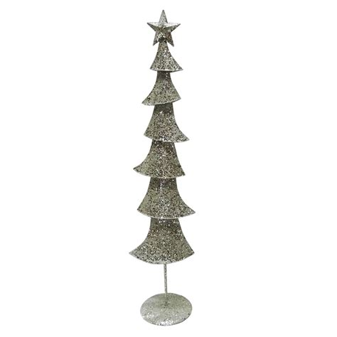large chagne silver glittered metal christmas tree