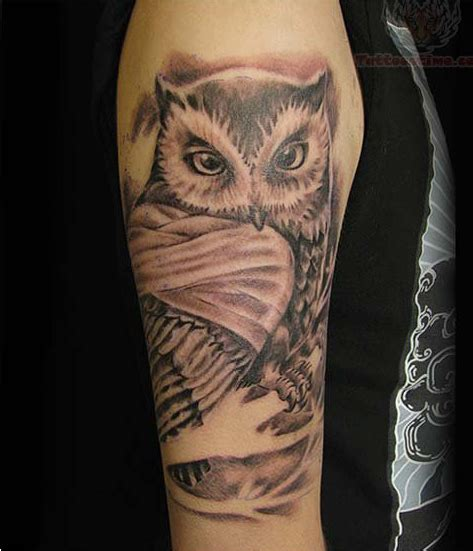owl half sleeve tattoo grey ink owl half sleeve