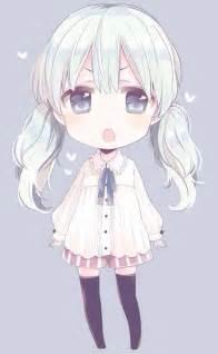 Cute Chibi Anime Girl White Hair