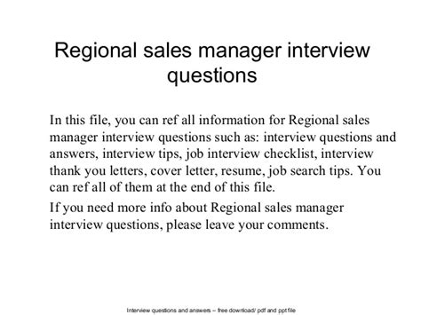 regional sales manager questions