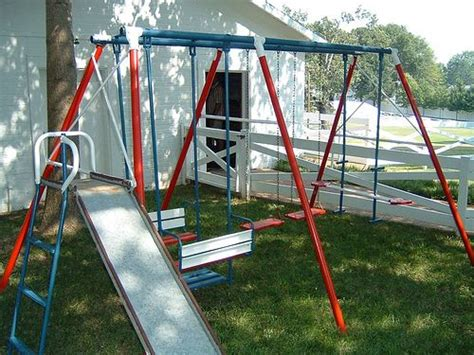 steel swing sets a frame metal swing set growing up in the 80 s