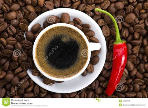 hot coffee with chili royalty free stock photos image