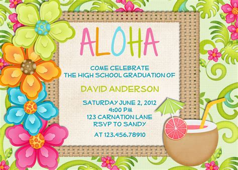 luau birthday invitation sweet 16 tropical hawaiian hula