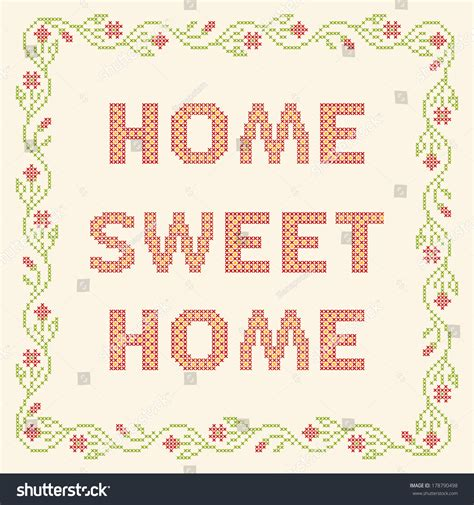 design elements for home design elements crossstitch embroidery home sweet stock