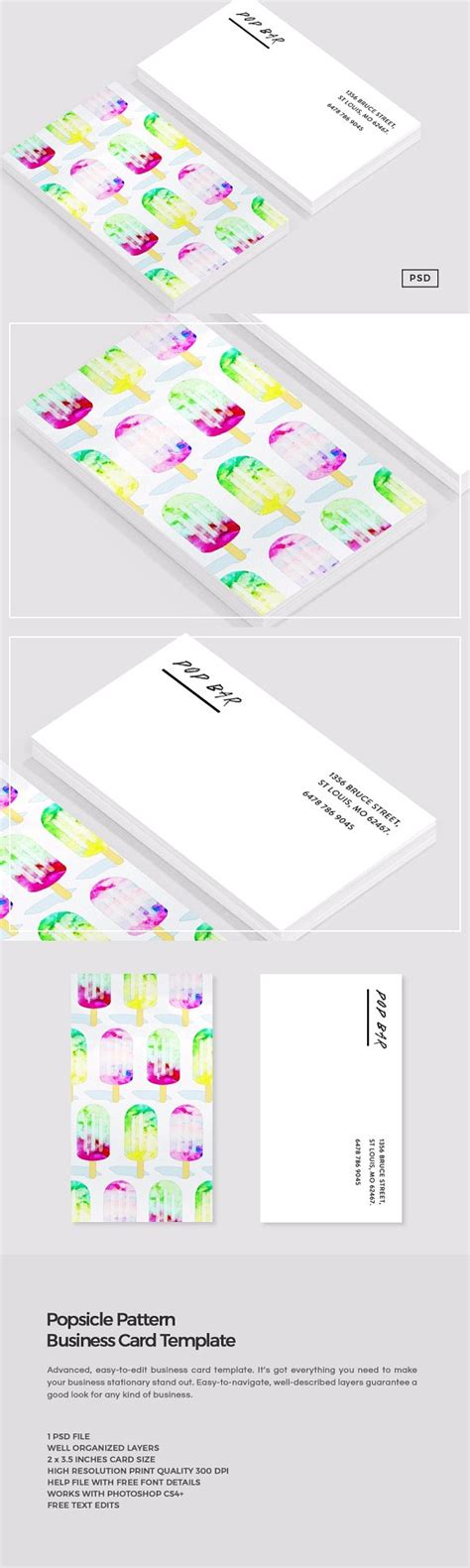 popsicle card template watercolor popsicle business card business card