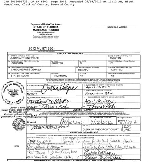 New York State Marriage License Records Florida Marriage License Search