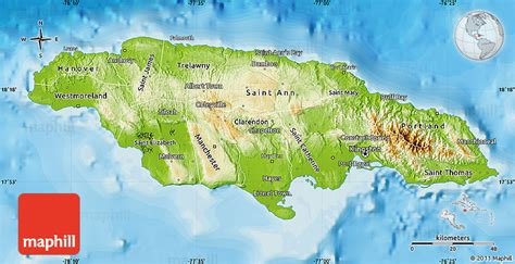 physical map of jamaica physical map of jamaica political outside