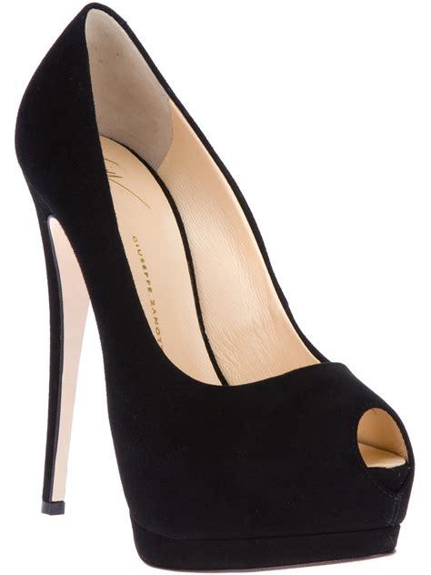 giuseppe zanotti peep toe stiletto in black lyst