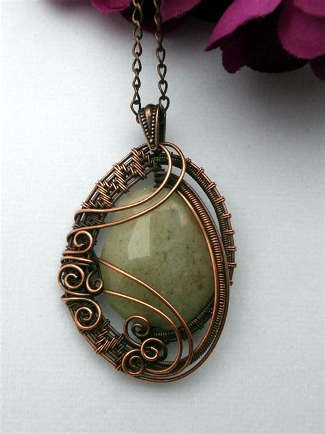 wire wrapped pendant necklace yellow quartz in copper