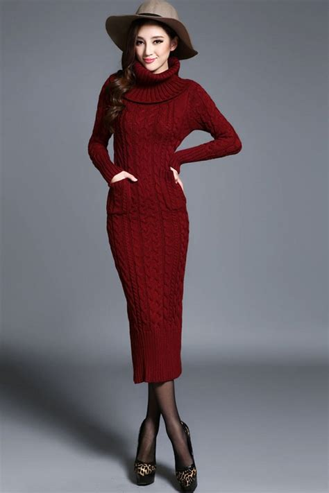 knitted dress turtleneck cable knitted dress oasap