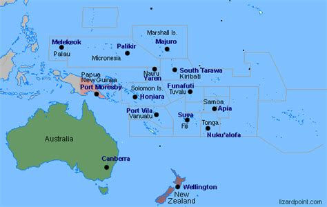 australia map with country names and capitals australia oceania countries and capitals it all