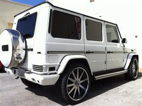 White Mercedes G Class White Mercedes G Wagon With Custom Rims