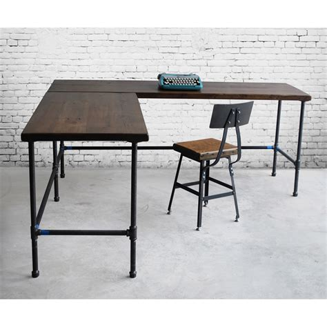 industrial l l shaped reclaimed wood desk modern office furniture