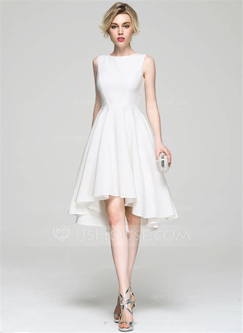 Dress Model A Line a line princess scoop neck asymmetrical satin cocktail