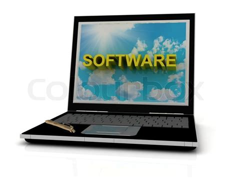 laptop software software sign on laptop screen of the yellow letters on a