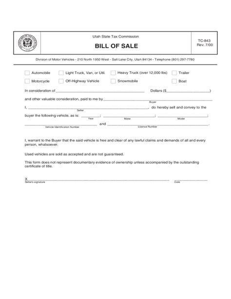 trailer bill of sale form sample utah free download