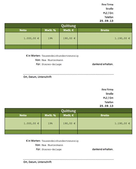 Vorlage Rechnung Quittung Rechnung Excel Vorlagen F 252 R Jeden Zweck