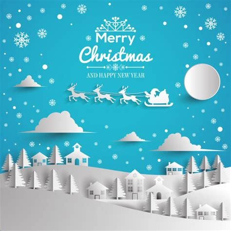 merry christmas  happy  year greeting card paper style vector premium