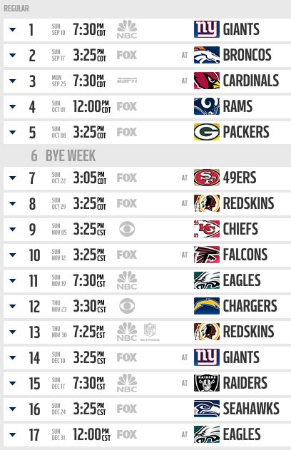 calendario oficial de la temporada 2017 dallas cowboys