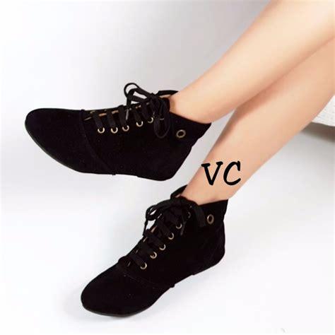 Sepatu Fila Coklat vahn boot korea sepatu wanita tali flat ankle hitam coklat