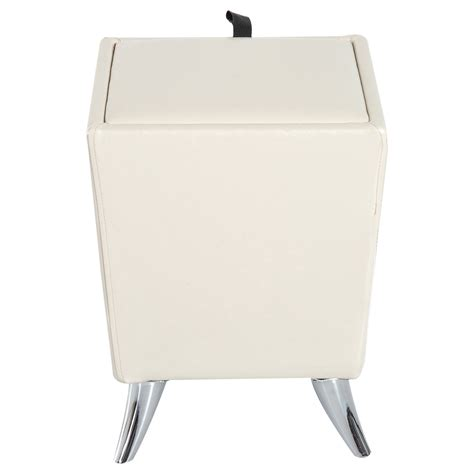 storage stool cube ottoman footrest faux leather metal