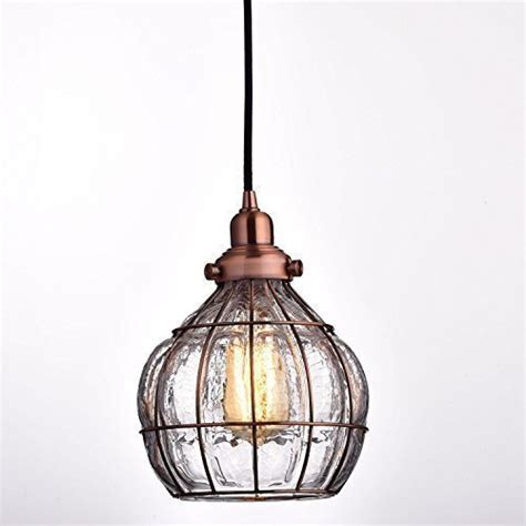 Rustic Glass Pendant Light Yobo Lighting Vintage Cracked Glass Rustic Wire Ceiling Pendant Light Antique Copper