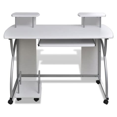 roll out computer desk vidaxl co uk mobile computer desk pull out tray white