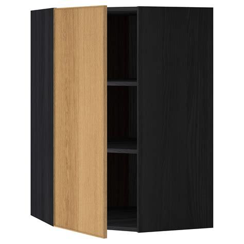 corner cabinet with shelves metod corner wall cabinet with shelves black ekestad oak