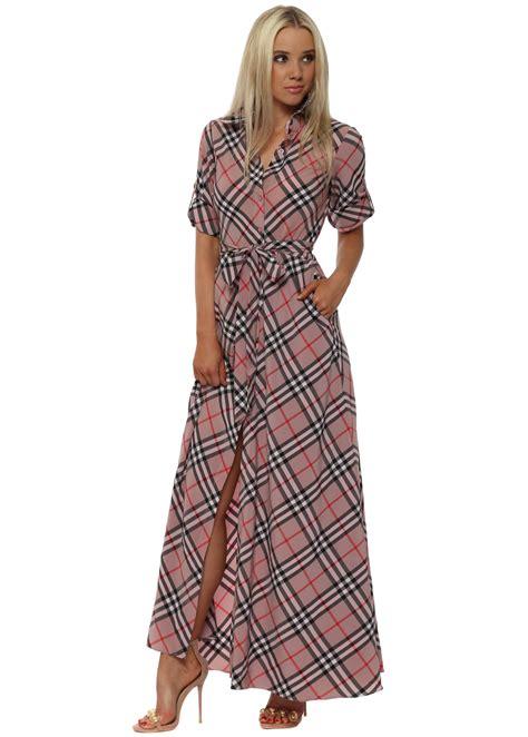 Tara Checker Shirt Dress goddess checked pink maxi shirt dress
