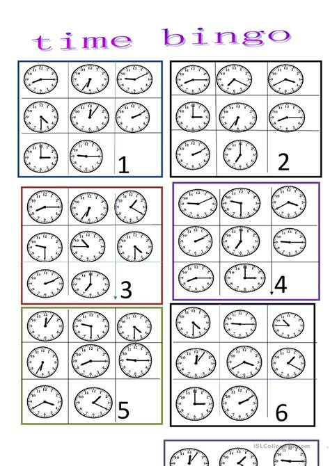printable clock bingo time bingo worksheet free esl printable worksheets made