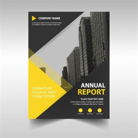 yellow abstract corporate annual report template vector