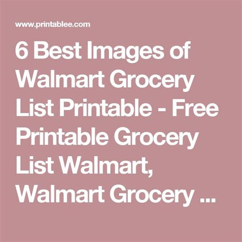 free printable grocery list walmart 17 best ideas about grocery list templates on pinterest