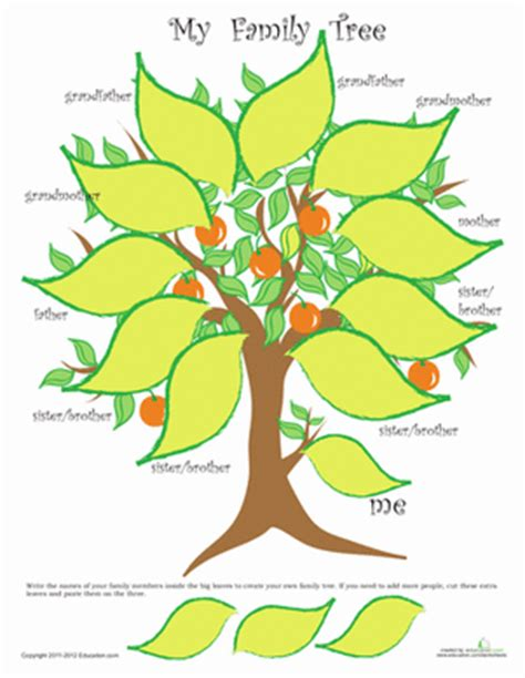 my family tree worksheet education com