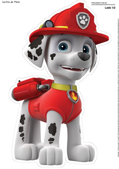 paw patrol characters paw patrol marshall and paw patrol badge totem de mesa patrulha canina marshall 1 1 paw patrol