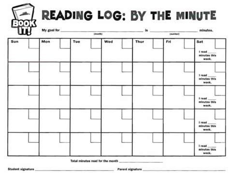 printable calendar reading logs book it reading log by the minute free teaching
