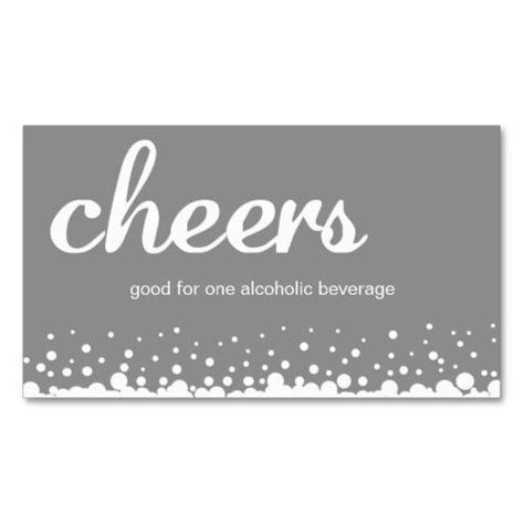 bar card template gray cheer wedding custom bar drink ticket business