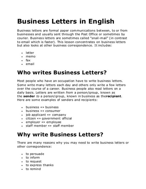 Business Letter Template Esl Business Letters In