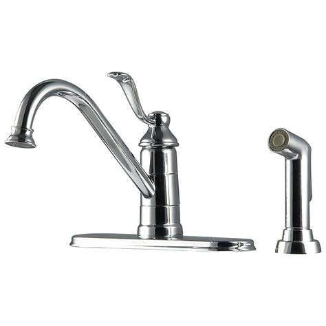 pfister portland 1 handle 3 hole high arc kitchen faucet with side spray in polished chrome