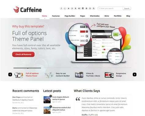 software layout wordpress caffeine wordpress theme for software company