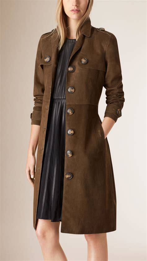 bench trench coat burberry suede trench coat in gray lyst