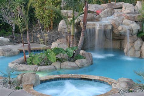 Backyard Pools Of California Swan Pools Swimming Pool Company Waterfalls Tropical