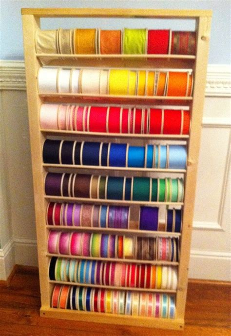 organization racks handmade 48 quot wooden ribbon storage rack shelf organizer