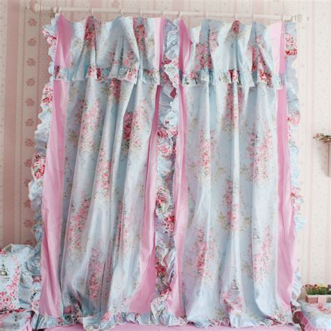 girl curtains and drapes korean style princess blue rose ruffle curtain window