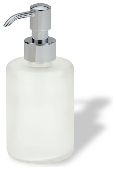 Luxury Free Standing Round Frosted Glass Soap Dispenser In Frosted Glass Bathroom Accessories