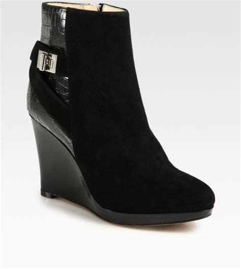 cole haan suede and crocprint leather wedge ankle boots in