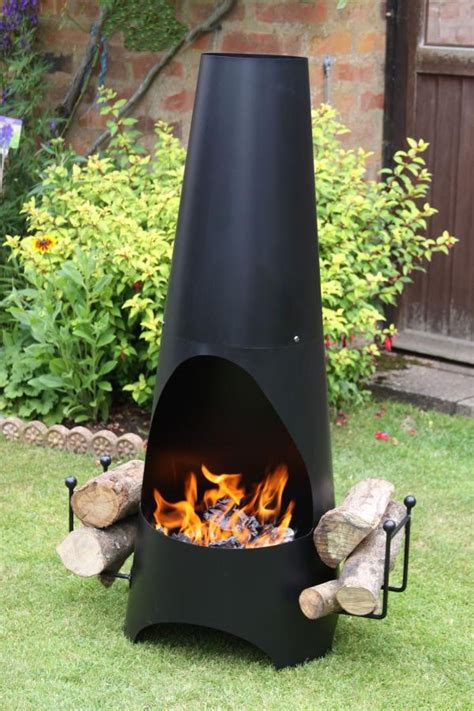 Large Contemporary Chiminea Garden Steel Chimenea With Log Store Savvysurf Co Uk
