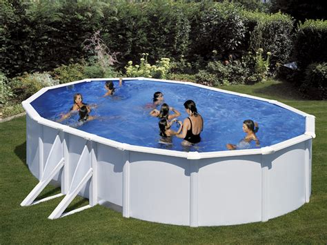 Protection Piscine 2157 by Kit Piscine Acier Ovale Quot Atlantis Quot Blanche 6 1 X 3 75 X