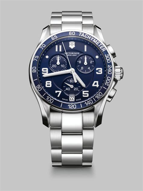 Swiss Army Sa0122 Silver victorinox chronograph stainless steel in silver for blue lyst