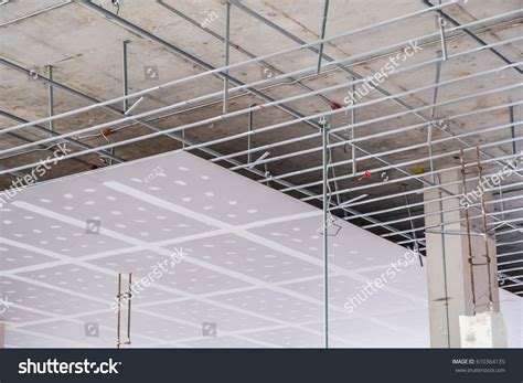 Ceiling Gypsum Board Installation by Suspended Ceiling Structure Installation Ceiling Gypsum