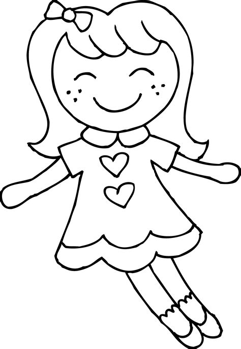 Cute Dolly Coloring Page Free Clip Art Doll Coloring Pages